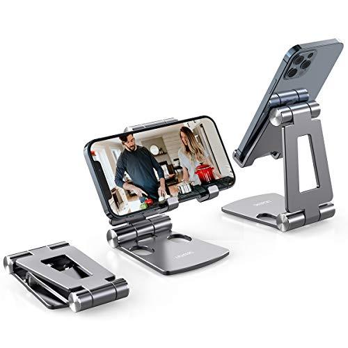 Licheers Handy Ständer, Multi-Winkel Tisch Handy Halterung: Handyhalterung kompatibel mit Phone 11 Pro Xs Max, Xs, XR, X, 8, 7, 6 Plus, Pad Air 2 3 4, Mini 2 3 4 und Geräte von 4-8 Zoll (Raum Grau)