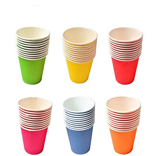 Nobranded 60 Piezas Vasos de Papel para Fiestas, Vaso de Papel de Color Desechable, Adecuado para la Creación De Bricolaje, Fiestas, Barbacoas (Seis Colores)