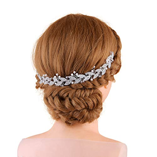 TOPQUEEN Strass Blatt Hochzeit Stirnbänder Kristall Braut Haarbänder Tiara Kopfschmuck, Einzelnes Band Silber (HP251-Big-7-7)
