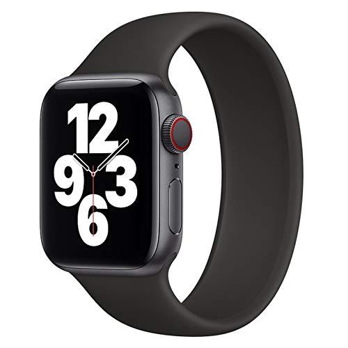 Correa de Bucle Solitario Aplicar a Apple Watch Band 38mm 42mm IWATCH Pulsera de Silicona elástica Aplicar a Apple Watch Series 6 / SE / 5/4 44mm 40mm (Band Color : Black, Size : 38mm or 40mm)