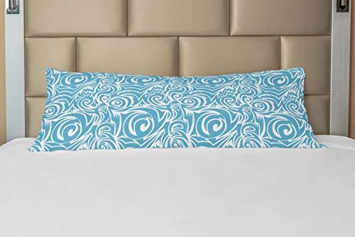 ABAKUHAUS Azul y Blanco Funda para Almohada de Apoyo, balinés Tribal, Decorativa Fácil de Colocar Práctica Lavable, 53 x 137 cm, Azul Claro y blan