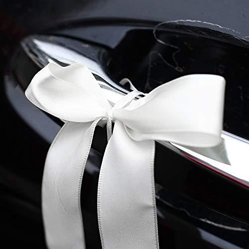 JaneYi 24 lazos para boda, decoración del coche, cinta de raso, lazos para antena, lazos para coches de novia, decoración para Navidad, bodas, coches, mesas, velas, regalos, jarrones, color blanco
