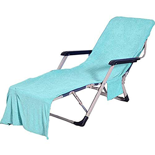 VOCOOL Chaise Lounge Pool Chair Cover Beach Towel Fitted Elastic Pocket Won't Slide (Lakeblue)