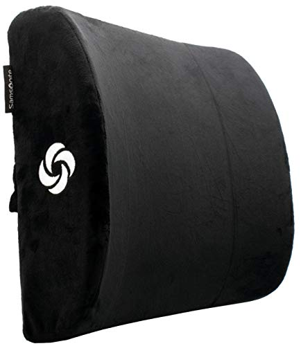 Samsonite SA6041  Soft Plush Lumbar Support Pillow  Helps Relieve Lower Back Pain  100% Pure Memory Foam  Improves Posture  Fits Most Seats  Washable Cover  Adjustable Strap