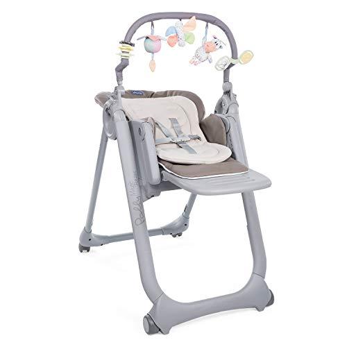 Chicco Polly Magic Relax Chaise Haute Évolutive et Pliable pour Bébé à 4 Roues, Enfants de la Naissance à 3 ans (15 kg), Inclinable en Transat, avec Coussin Réducteur et Barre de Jeux - Beige