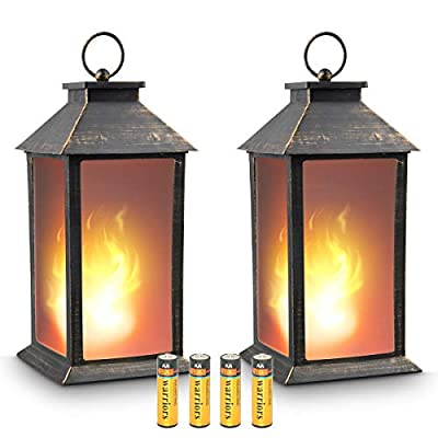 "zkee 13"" Vintage Style Decorative Lantern,Flickering Flame Effect LED Tabletop Lantern(Black,4 Hours Timer Batteries Included) Indoor/Outdoor Hanging Lantern,Decorative Candle Lantern (Set of 2)"