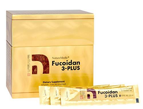 NatureMedic Fucoidan 3-Plus Brown Seaweed Immunity Supplement with Three Types of High Purity Fucoidan Organic Mekabu Fucus Mozuku Agaricus 50 Liquid Packets/Box Made in Japan (1 Box)