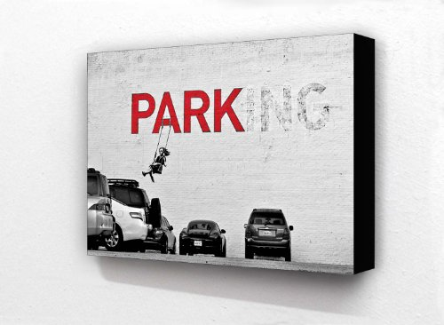 """Wandbild auf Block, Motiv Banksy """"No Parking"""" Mädchen auf Schaukel, 2 Farbtöne, 15,2x10,2cm Postkartengröße"""
