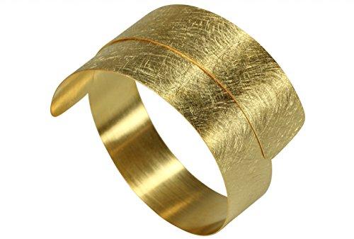 SILBERMOOS Damen Armreif Armspange vergoldet offen gewickelt flexibel gebürstet Spirale 925 Sterling Silber