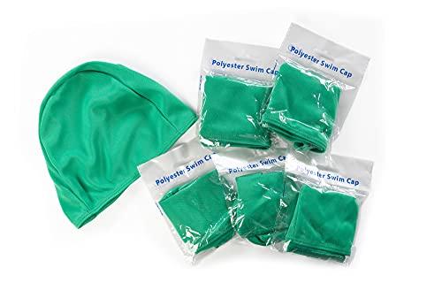 SWIMXWIN Confezione 5 Pezzi Cuffia in Poliestere No Brand e Low Cost OBBLIGATORIE da Piscina Nuoto Estate Balneazione Estiva (5 PZ Verde)