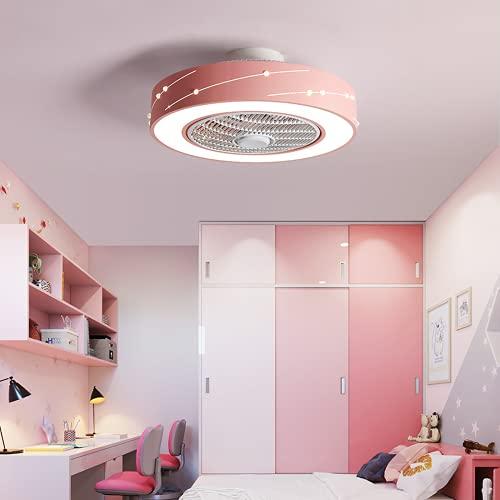 Led Lámpara De Techo Regulable,Plafon De Techo Con Mando A Distancia,Ventilador Invisible Moderno Y Simple Luz De Tres Tonos Rosa Claro 50 * 20Cm