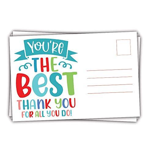 50 Appreciation Postcards - Blank Postcards - Employee, Teacher, Nurse, Coworker, Volunteer Recognition Postcards - Thank You Postcards