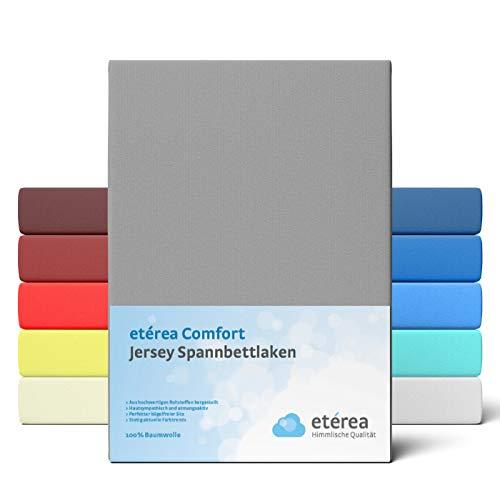 etérea Comfort Jersey Spannbettlaken 180x200 bis 200x200cm - Weiches Spannbetttuch aus 100% Baumwolle, Bettlaken mit ca. 25 cm Steghöhe und 140 g/m², Frost Grau
