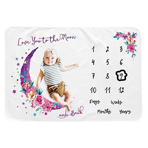 Genfien Baby Monats Decke Baby Meilenstein Decke Fotodecke Babydecke mit Monat als Geschenk zur Geburt Baby Geschenk für Jungen & Mädchen 100 x 120cm