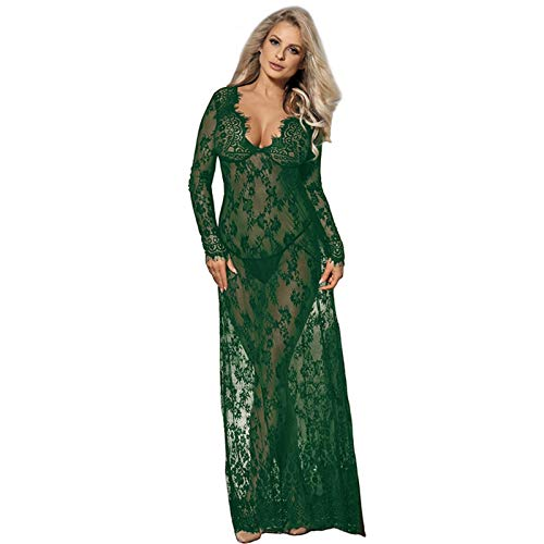 Liaiqing Lencera Sexy Ladies Discoteca Costura Costura Larga Nightdress Temptation Pijamas (Color : Green, Size : Medium)