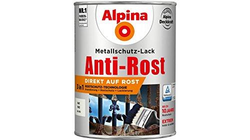 Alpina 2,5 L Metallschutz-Lack, 3in1 Direkt auf Rost, RAL 9010 Weiss Matt