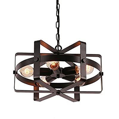 Unitary Brand Antique Black Metal Drum Shape Round Pendant Light with 5 E26 Bulb Sockets 200W Painted Finish