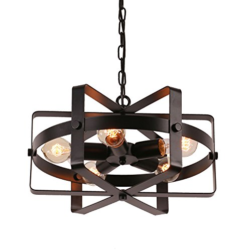 Unitary-Brand-Antique-Black-Metal-Drum-Shape-Round-Pendant-Light-with-5-E26-Bulb-Sockets-200W-Painted-Finish