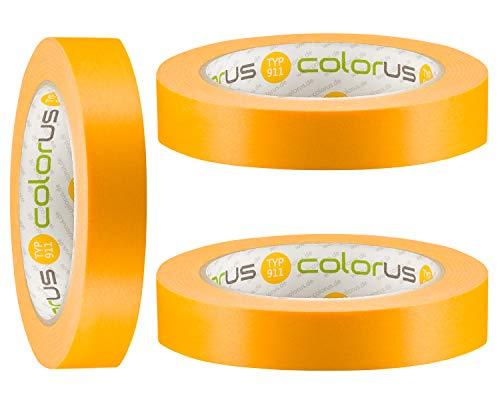 3 x Colorus Premium Goldband PLUS Abklebeband 19 mm x 50m | 120 Tage UV-Papier-Klebeband | Lasur-Klebeband für Innen und Außen | Abdeckband-Gold extrem Scharfe Kanten | Dünnes Malerklebeband