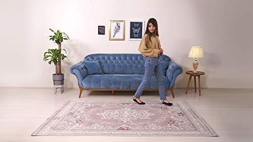 BESYILDIZ KALiTE HALI Designer Teppich Modern Wohnzimmer Esszimmer Schlafzimmer Bordüre Hochwertig Meliert Kurzflor bedruckter Retro Rosa