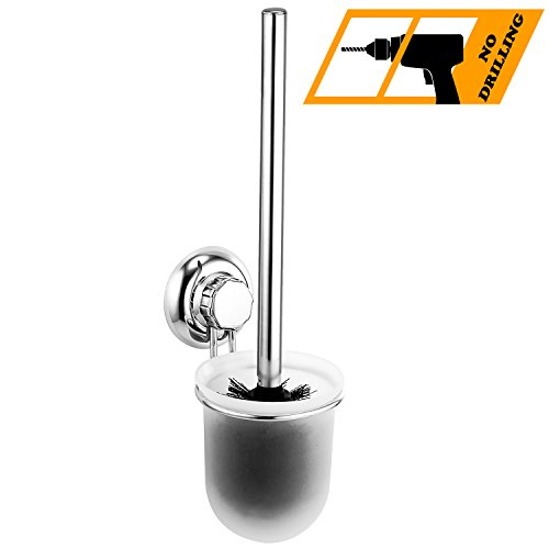MaxHold Saugschraube Toilettenbürstenhalter, Befestigen ohne Bohren – Edelstahl rostfrei –WC-Bürste und Halter WC-Garnitur für Küchen & Badezimmer Aufbewahrung