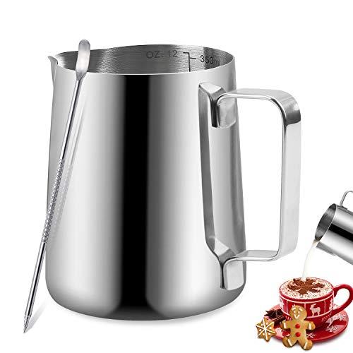 Jarritas para leche, TechKen jarra de leche acero inoxidable 350ml/600ml/900ml(12oz/20oz/32oz) para Café...