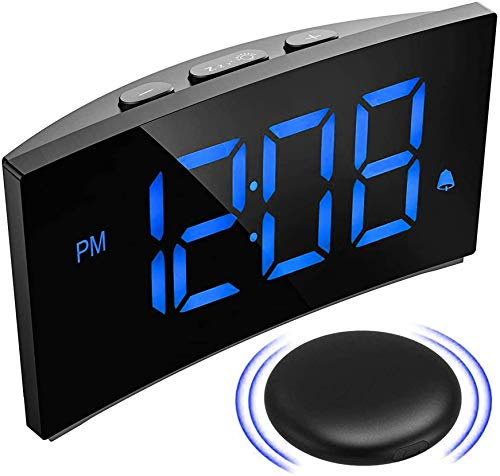 PICTEK Wireless Bed Shaker Alarm Clock for Heavy Sleepers, Shaking or Sound Mode, 3 Alarm Sound, Clear Red Display with 6 Dimmer, Digital Alarm Clock for Bedrooms for Kids (Blue)