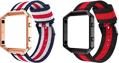 Correas para Relojes Nylon Compatible con Fitbit Blaze, Correa de Reloj de NATO para Mujer y Hombre con Hebilla de Acero Inoxidable (2PCS A)