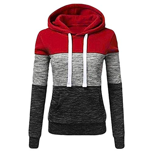TOPKEAL Hoodie Pullover Damen Herbst Winter Kapuzenpullover Sweatshirt Lässige Winterpullover Patchwork Jacke Mantel Tops Mode 2020