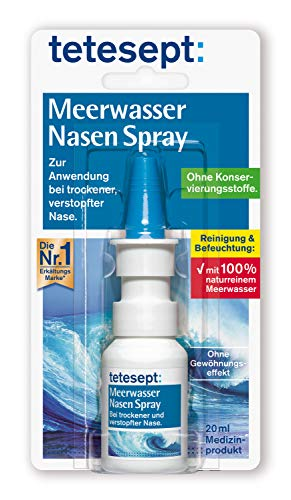 tetesept Meerwasser Nasen Spray – Nasenspray bei Erkältung - Reinigung der verstopften Nase & natürliche Befeuchtung trockener Nasenschleimhäute – 1 x 20 ml