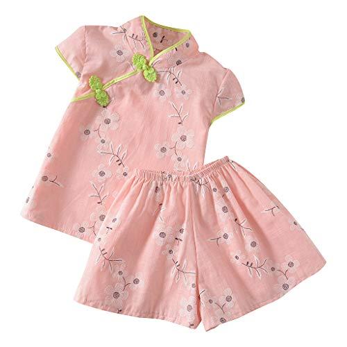 LEXUPE Kleinkind Kind Baby Mädchen Floral Bedruckte Cheongsam Prinzessin + Kleid Outfits Set(Rosa,110)
