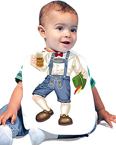 Just Add A Kid 348 Lederhosen Baby Oversize Bib 0-18 Months White