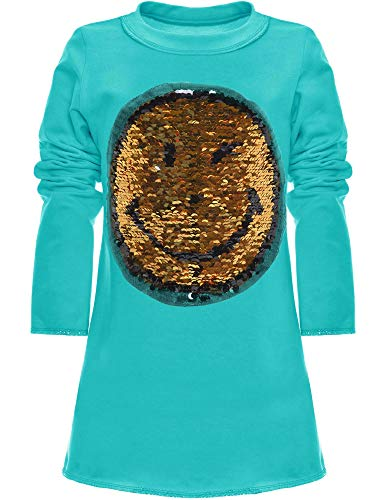 BEZLIT Mädchen Wende-Pailletten Tunika Extra Strick Long Bluse Kleid Langarm 21048 Türkis Größe 164