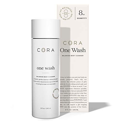 Cora One Wash, Natural All-Over Body Cleanser, pH Balanced Feminine Wash | Toxin Free, Moisturizing & Hydrating Tri-Oil Blend | Lightly Scented with Sandalwood, Lavender, and Mandarin (8 Fl Oz Bottle)