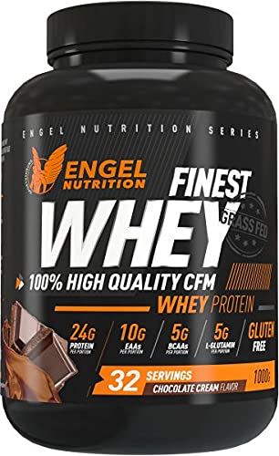 Engel Nutrition Finest Whey Protein Pulver | 100{3b6ce20758077653589f314b7d8d8297d4146d494471f6f567e69387809e59a9} CFM Whey Protein aus Weidemilch | Eiweißpulver mit extra Aminosäuren, Enzymen & Probiotika |Über 24g Protein, nur 0,5g Fett (Schokolade, 1kg)