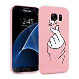 ZhuoFan Funda Samsung Galaxy S7 Edge, Cárcasa Silicona Rosa con Dibujos Diseño Suave Gel TPU Antigolpes de Protector Piel Case Cover Bumper Fundas para Movil Samsung Galaxy S7Edge, Dedo del corazón