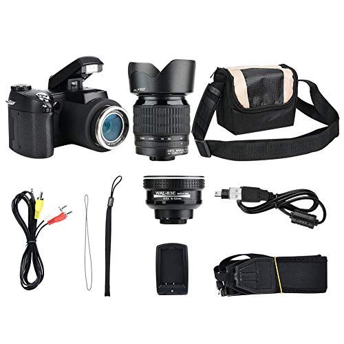 AYNEFY - Cámara réflex Digital FHD de 33 MP y 1080P con Lente Gran Angular y Zoom de 24x, Color Negro