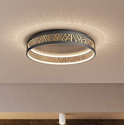 54W LED Deckenleuchte Dimmbar mit Fernbedienung Wohnzimmer Deckenlampe, Kreativ Rund Schwarz Gold Aushöhlen Design Schlafzimmer Lampe, Acryl Schirm Arbeitszimmer Deko Licht, Flurlampe aus Eisen, Ø52cm