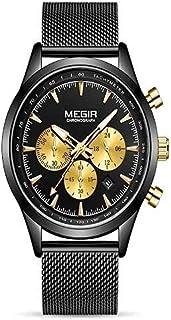 Megir MS2153G-BK-1 Analog Stainless Steel Watch for Men , 2725608428138