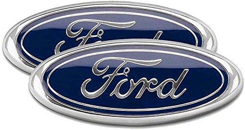 2Pcs-9 INCH Grille Ford F150 Emblem Front Tailgate Badge Replacement Plate for Ford F-150 2004 to 2014, F-250/F-350 2005 to 2007, Explorer 2011 to 2016, Edge 2011 to 2014, EXPEDITION,RANGER