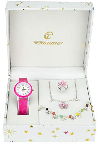 Cofanetto Orologio Ragazza Rosa- Parure di gioielli Marguerita- Collana-Anello- Cinturino