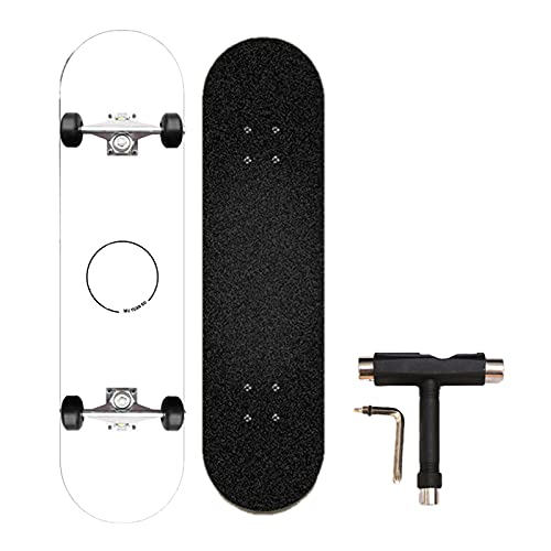 Swing around Ahorn Skateboard Erwachsene Sieben-Schicht-Ahorn-Highwheel-Vierräder-Tiefdruck-Doppel-Neigung Skateboard Erwachsene Anfänger Kinder Skateboard,White Elements,80cm/31.4in