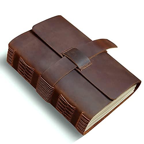 ZNOUSH Cuaderno Retro de Papel Kraft Grueso, la Primera Capa de Cuero de Vaca Cosido Mano de Regalo Creativo de papelería Diario de la libreta, Adecuado Viajes (Color : Brown)
