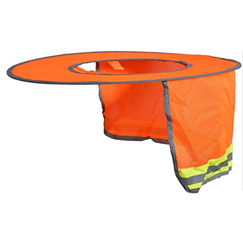 YUIO Hard Hat Sun Shade Neck Shield Sun Protection with Reflective Strip and High Visible Mesh Design for Hardhats/Helmet (Orange)
