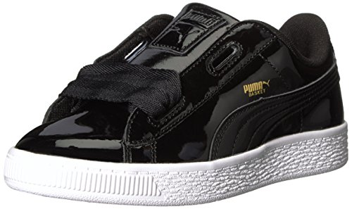 PUMA Unisex Basket Heart Patent Sneaker, Black, 12 M US Little Kid