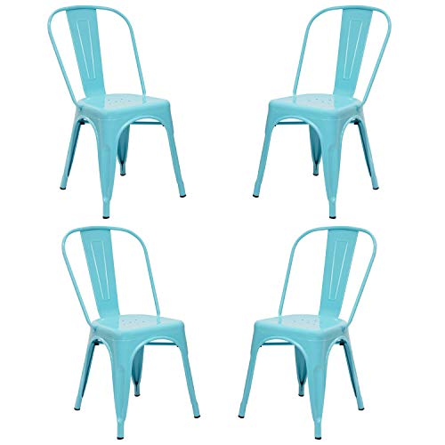 Vaukura Silla Tolix(Pack 4) - Silla Industrial Metálica Brillo (Azul)