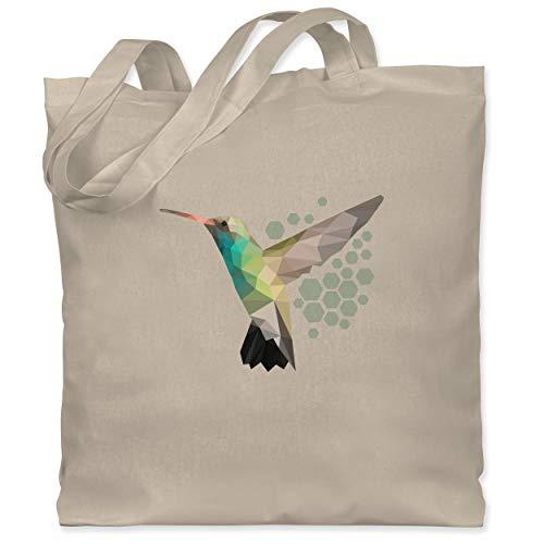 Shirtracer Vögel - Colibri - Unisize - Naturweiß - jutebeutel kolibri - WM101 - Stoffbeutel aus Baumwolle Jutebeutel lange Henkel