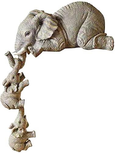 Ghlevo Elefante decoración Resina Elefante Madre y Dos bebés estatuas de Elefantes cerámica artesanía