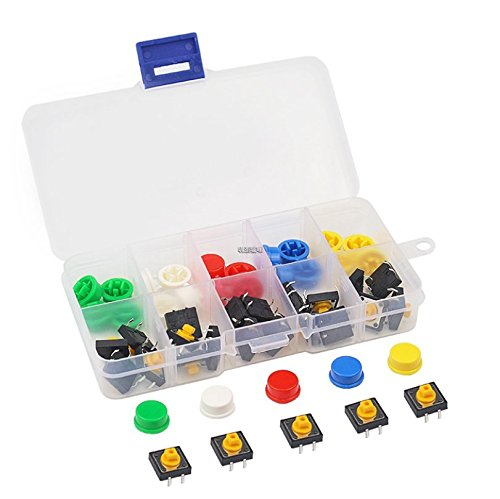 Tactile Switch 25pcs Tactile Push Button Switch 4 Pins SMD PCB Micro Momentary Tact Assortment Kit 12x12x7.3mm with 5 Colors Round Cap and Box for Arduino