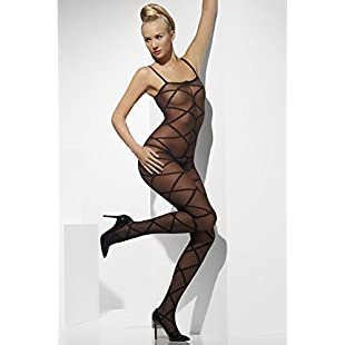 Smiffy's Sheer Body Stocking Criss-Cross Pattern Crotchless - Black:Maskedking